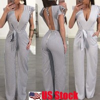 Womens Striped Backless V Neck Jumpsuit Rompers Cocktail Evening Party Dress USA