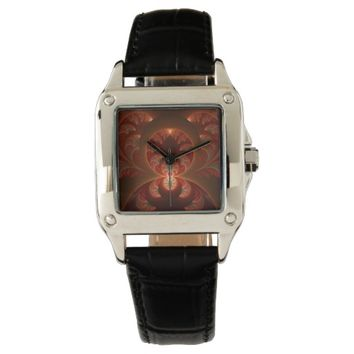 Luminous abstract modern orange red Fractal Wrist Watch