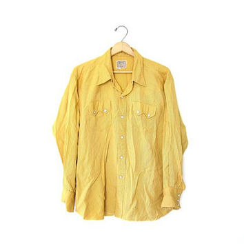 H Bar C Shirt. Western 50s Mens Pearl Snaps Button Up Shirt. Yellow Striped Shirt. Hipster Rocker Cowboy Ranchwear Shirt. Mens XL