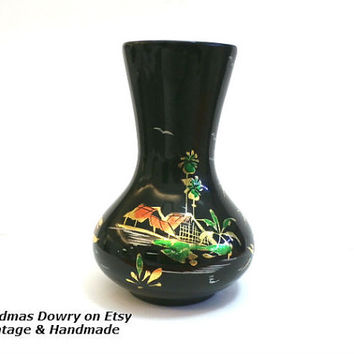 Vintage Asian Bud Vase, Hand Painted Lacquered Asian Wooden Vase with Gold Decorations