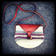 Vintage Tooled Leather and Woven Sisal Cross Body Tribal Pouch Purse