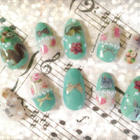 Vintage flowers and bunnies and squirrels 3D lolita nails with pearls and bows Japanese nail art kawaii