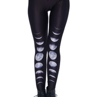 The Process Of Eclipse Printed Black Leggings