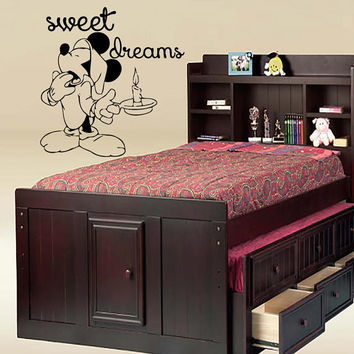 Wall Decals Sweet Dreams Decal Vinyl Sticker Mickey Mouse Window Nursery Children Bedroom Hall Home Decor Dorm Interior Art Murals MN519