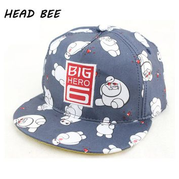 [HEAD BEE] 2017 New Baseball Cap Children Cartoon Big Hero Sons Casquette Print Hip Hop Hat Diamond Last Kings for Boy and Girl