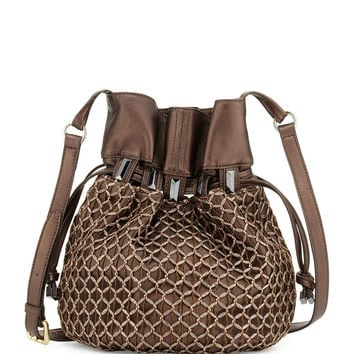Echo Crochet-Overlay Bucket Bag, Bronze Metallic - Kooba