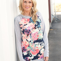Floral Front Hoodie - 2 Colors