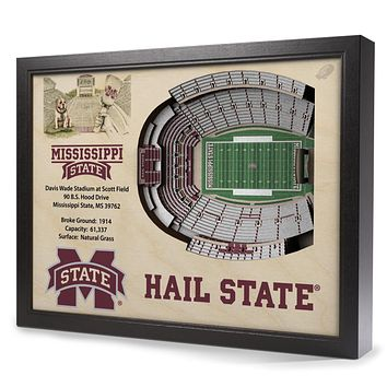 Mississippi State Bulldogs 25-Layer StadiumView 3D Wall Art