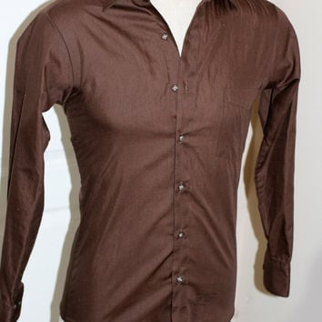 Vintage 70s Polyester Mens Brown Fitted Shirt.