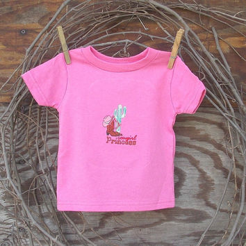 Baby Girl Cowgirl Princess T shirt, 6, 12, or 18  months, machine embroidery,