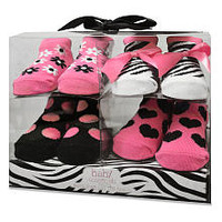 Baby Essentials Girls 4 Pack Sock Set - Pink Zebra