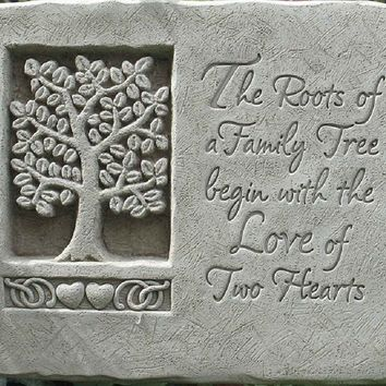 "Natural Stone Roots Of Love Plaque. Size 7"" x 8.5"" x 1.75""."