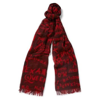 Red Signature Print Scarf by Alexander McQueen