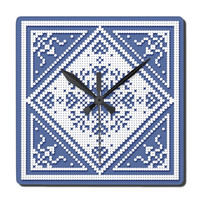 Square Wall Clock Scandinavian Snowflake in white on blue