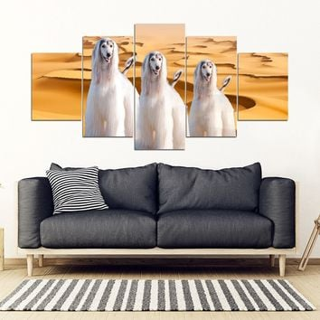 Afghan Hound Print- Piece Framed Canvas- Free Shipping