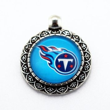 2017 Hot Alloy Dangle Charms Tennessee Titans Football Sports Team Glass Pendant For DIY Jewelry Necklace Bracelet