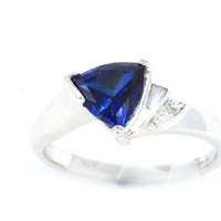 Blue Sapphire Trillion Diamond Ring .925 Sterling Silver Rhodium Plated