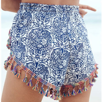 Sexemara 2017 Summer New Arrival Boho Beach Wear Women Shorts Vintage Retro Tassel Printed Casual Ladies Feminino Booty Shorts