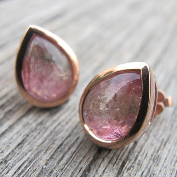 SALE Tourmaline Earring- Watermelon Tourmaline Earring- Rose Gold Earring- Stone Earring-Gemstone Earring- Dangle Earring- Gifts for Her- Ea