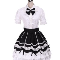 TOMSUIT Charming Black White Short Sleeve Cotton Lolita Dress Outfit