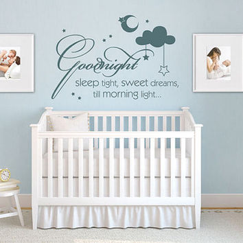 rvz967 Wall Vinyl Sticker Words Sign Quote Cloud Star Baby Kids Sweet Dreams