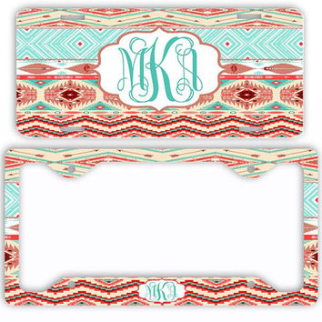 Coral Mint Aztec Tribal License Plate Car Tag Cover Monogram Frame Personalized Set Custom Initials Tribal Pattern Arrows Print