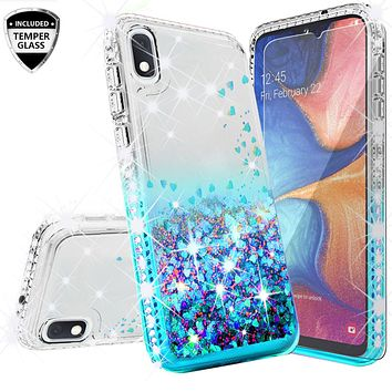 Motorola Moto E6 Case Liquid Glitter Phone Case Waterfall Floating Quicksand Bling Sparkle Cute Protective Girls Women Cover for Motorola Moto E6 W/Temper Glass- Teal