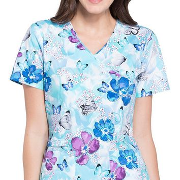 Cherokee Women's Mock Wrap Floral Print Scrub Top Small Print