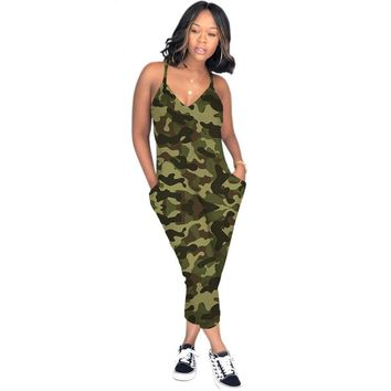 Plus-Size Camouflage Jumpsuit Bodycon Overalls Spaghetti Strap Rompers