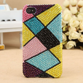 FREE SHIPPING Apple iPhone 4S 4G Artificial Rhinestone Swarovski Crystals Girly Hard Skin Case Cover