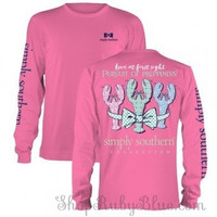 Simply Southern Preppy Lobsters Tee- Pink Long Sleeve