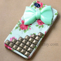 Iphone 5 Case, Light Green Bow Iphone 5 Case, Antique Silver Stud Iphone 5 Case, Vintage Style Flower Rose Iphone 5 Case Cover