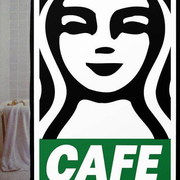 "OBEY Poster with Starbucks Logo Custom Shower Curtain available size 66"" x 72"", 60"" x 72"",48"" x 72"""