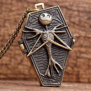 The Nightmare Before Christmas Pocket Watch Jack Skellington Skull Skeleton Quartz Pocket Watch FOB Chain Women Mens Gifts P304