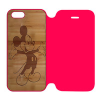 Mickey Mouse Wooden iPhone 5 | 5S Flip Case Cover