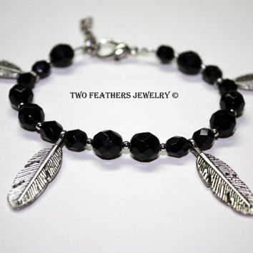 Four Feathers Beaded Bracelet - Feather Bracelet - Black Czech Glass Bracelet - Silver Feathers - Charm Bracelet - Black And Silver - Boho
