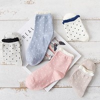 New Fashion 5 Colors Solid Dot Lace Socks Female Hot Casual Cotton Socks Women Vintage Socks Free shipping