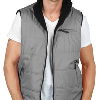 LE3NO Mens Classic Sleeveless Reversible Fleece Puffer Vest Jacket (CLEARANCE)