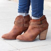 Kasper Ankle Wrap Heeled Booties {Tan}