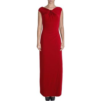 Lauren Ralph Lauren Womens Knot Front Ruched Evening Dress