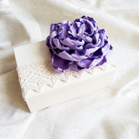 Cream ecru rustic wedding rings box with heart box writing handmade flower lilac vintage wedding cream custom lace