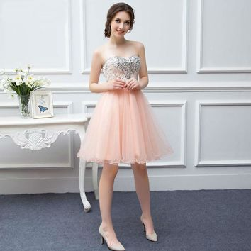Girls Party Gown Tulle Beaded Knee Length Short Peach Coral Homecoming Prom Dresses