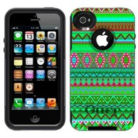 Otterbox Commuter Aztec Green Pink Colourful Pattern Case for Apple iPhone 4