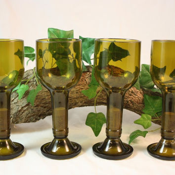 Wine Glasses Upcycled from Brown Wine Bottles