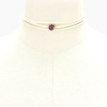 Ivory Suede Leather Triple Layer Purple Amethyst Druzy Stone Choker Necklace