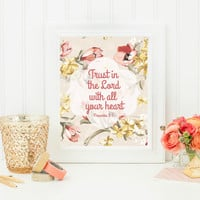 """Digital """"Trust in the Lord"""" Printable 8x10, scripture, bible verse printable, home decor, wall art, word art, inspirations art, gift idea"""