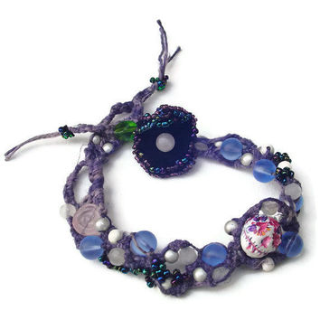 Blue gothic macrame bracelet with hand painted by BrandonArtists