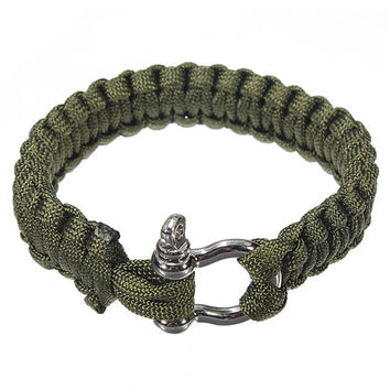 6 Colors Self-rescue Adjustable Paracord Survival Bracelet 7 Strand Handmade Weave Parachute W Cord Shackle outdoor tools