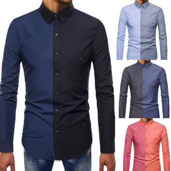 Men Long-Sleeve Beefy Muscle Button Basic Solid Splicing Blouse Tee Shirt Top