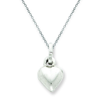 Sterling Silver Rhodium Plated Puffed Heart Pendant QC5974/SP